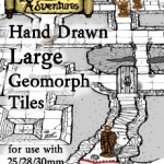 Miniatures Scaled Version of Inked Adventures' Hand Drawn Geomorph Tiles